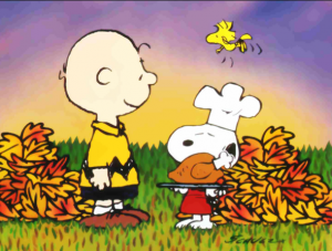 Charlie Brown and Snoopy celebrate Thanksgiving, but remember that if you travel internationally then they won't be serving turkey dinner.