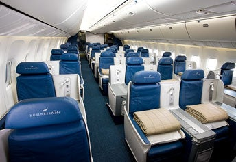 Delta's transcon lie-flat BusinessElite seats.