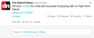 A Delta pilot has been accused of groping a teenage girl.