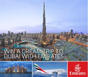 "Enter the ""Win a Dream Trip to Dubai with Emirates,"" now through November 21, 2013."