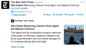 Ellis Island reopens a year after Hurricane Sandy.