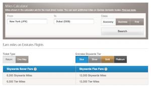 Emirates earning JFK DXB
