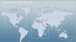 Emirates mileage earning is based on zones.