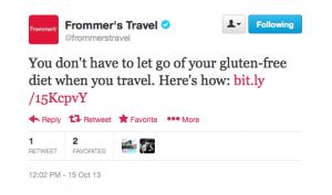 Frommers Travel gives gluten-free tips.