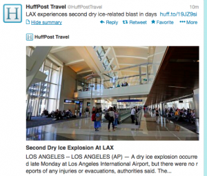 @HuffPost Travel reported that there was a second dry ice blast at LAX.