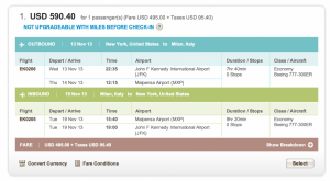JFK-MXP for $590 in Coach[1]
