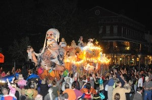 Floats are extravagantly spooky at the Krewe or Boo Halloween Parade in New Orleans.