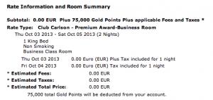 Two nights at the Radisson Blu Hotel Madrid Prado cost me 75,000 points.
