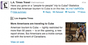 More Americans traveling to Cuba, reported @LATimesTravel.