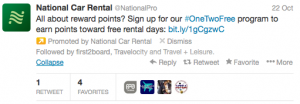 #OneTwoFree program to earn points toward free rental days