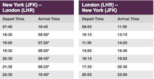 New Virgin Atlantic Schedule