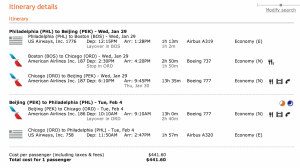 Philadelphia to Beijing for $446