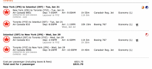JFK to Istanbul for $522