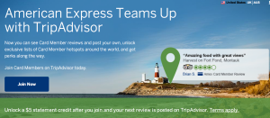 Earn a $5 statement credit with TripAdvisor