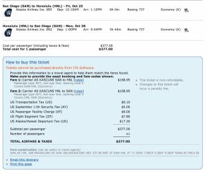San Diego-Honolulu for $377 round-trip