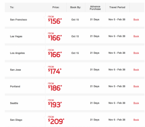 Sample Virgin America fares from JFK.