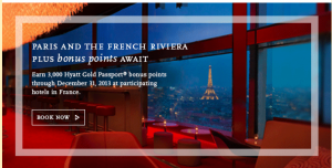 Earn bonus Hyatt points in France.
