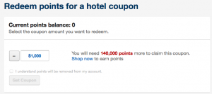 Hotel redemptions are fixed at 0.7 cents per point.