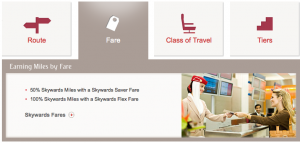 Different fares earn different mileage percentages.