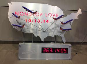 A clock appeared at the Southwest Airlines headquarters on Monday to tick down to October 13, 2014.