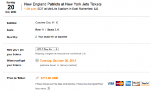 StubHub tickets cost $717 each for the same section.