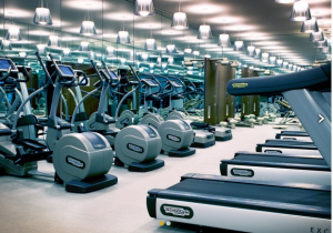 The fitness center at the SLS Hotel in Beverly Hills
