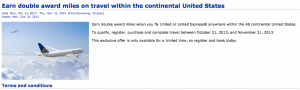 """United's """"Double Miles"""" promotion launched on Monday."""