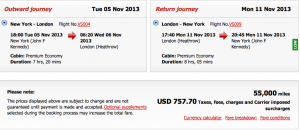 Virgin JFK-LHR Premium Economy