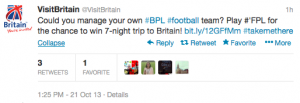 @VisitBritain is giving soccer fans the chance to win a seven night trip to the UK.