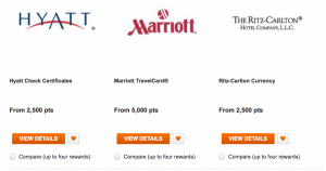 Hotel gift certificate options