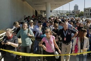 Huge crowds formed as the airport was shut down for several hours.