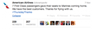 AA passengers honored Marines by giving them their First Class seats.