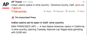 AP Travel announced the opening of an Indian casino in Sonoma.