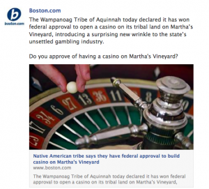 The Wampanoag Tribe of Aquinnah will open a casino on tribal land in Martha's Vineyard.