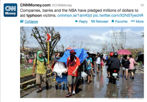 @CNNMoney reported that international corporations have been raising millions for typhoon aid.