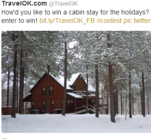 Enter to win a 2 night stay in this Oklahoma cabin.