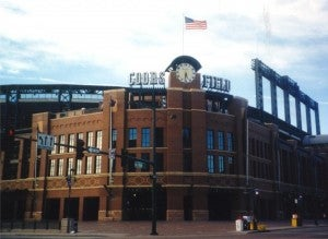 The Coors Field Baseball stadium.