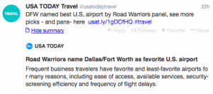 Dallas/Fort Worth has been deemed the best airport for business travelers.