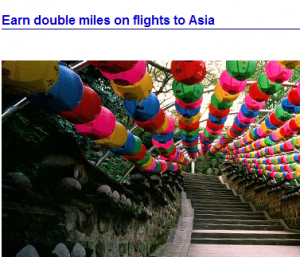 Get double AAdvantage Points when flying to Asia.