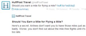 Earn a Mile for Flying A Mile