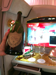 A pre-departure drink of champagne always goes down well.
