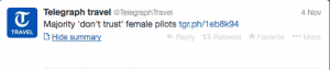 Female pilots still not trusted.