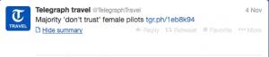 Female pilots still not trusted.