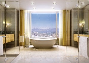 Relax in the the tub with a view at the Four Seasons Denver.