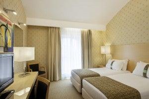 A guestroom at the Holiday Inn Milan.