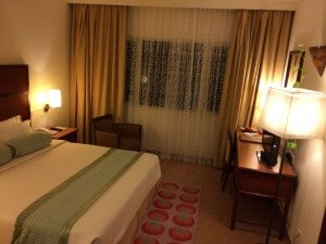 A guestroom at the Hulhule Hotel.