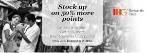 Get up to 50% bonus points when buying IHG Reward Points.