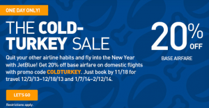 Save Up To 20% With The JetBlue 'Cold Turkey' Sale, Today Only