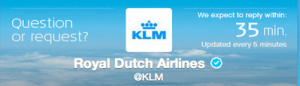 Check KLM's Twitter page for customer service wait times.