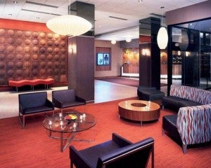 The lobby of the Curtis Doubletree Denver.